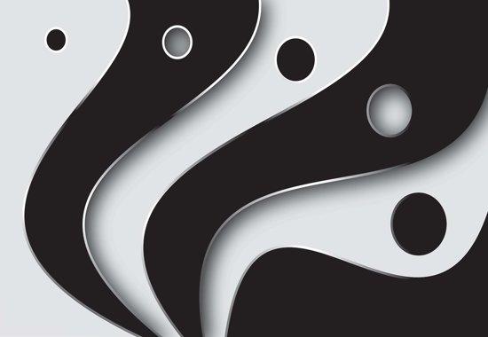Fotobehang Abstract Modern Pattern Black White | PANORAMIC - 250cm x 104cm | 130g/m2 Vlies