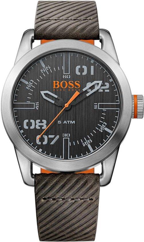 BOSS Orange HO1513417 Oslo Horloge - Leer - Grijs - 44 mm