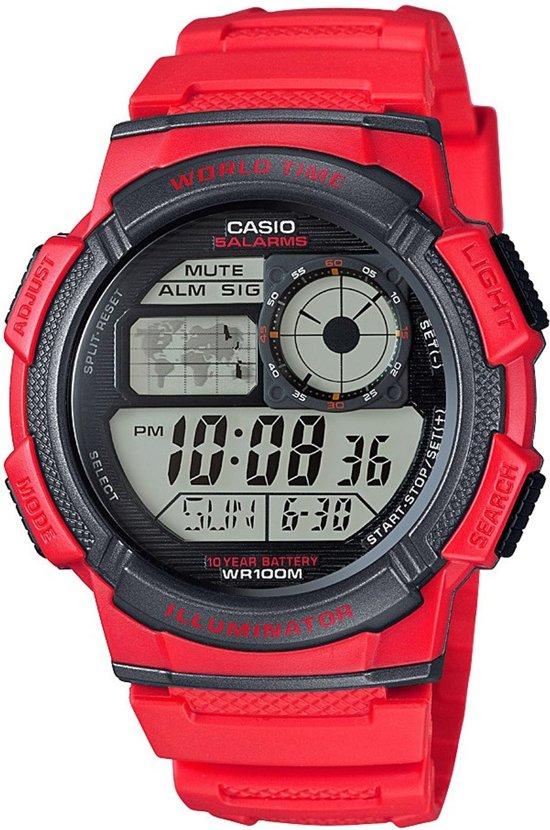 Casio AE-1000W-4AVEF - Horloge - Kunststof - Rood - Ø 43.7 mm
