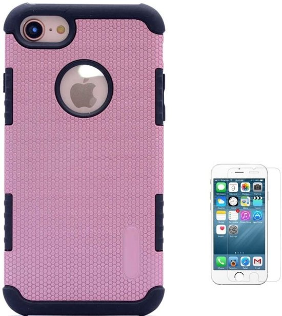 Teleplus iPhone 5s Armour Hybrid Double Layer Flip Leather Case Rose Gold + Glass Screen Protector hoesje
