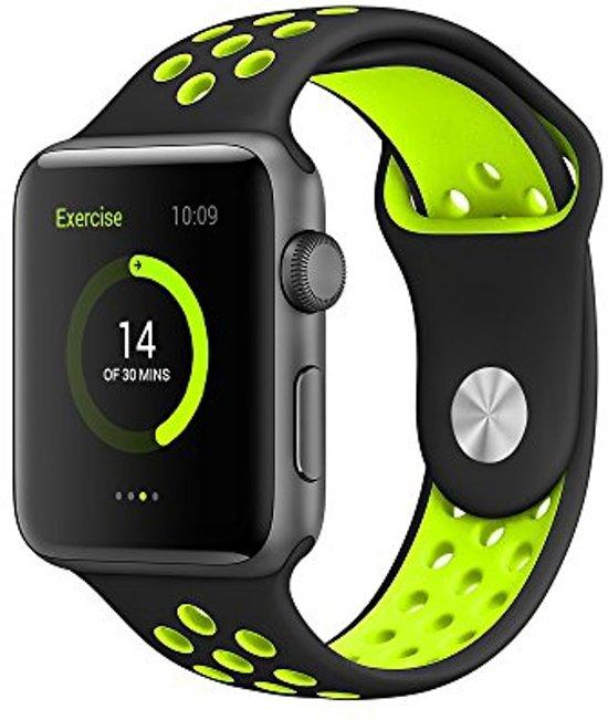 Siliconen Band Voor Apple Watch Series  1/2/3/4 42 MM /44 MM - iWatch Armband Polsband Strap - Zwart/Geel