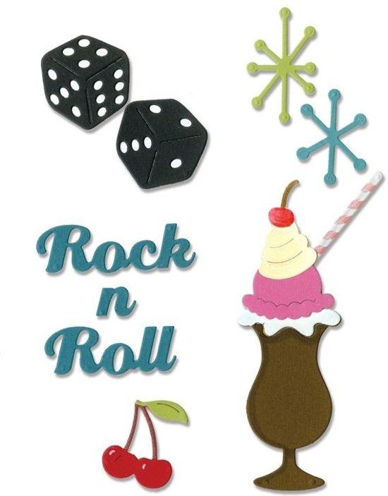 Sizzix Thinlits 9 Pcs, Rock  'n Roll Sundae by Jen Long