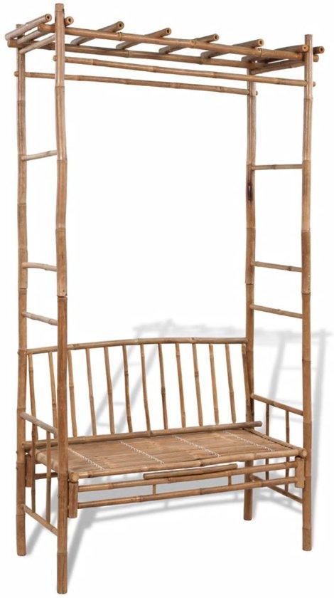 bank bamboe met pergola. Black Bedroom Furniture Sets. Home Design Ideas