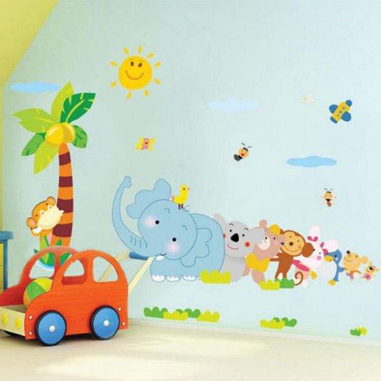 Muursticker olifant dieren palm boom voor babykamer of kinderkamer - Kamer wanddecoratie kind ...