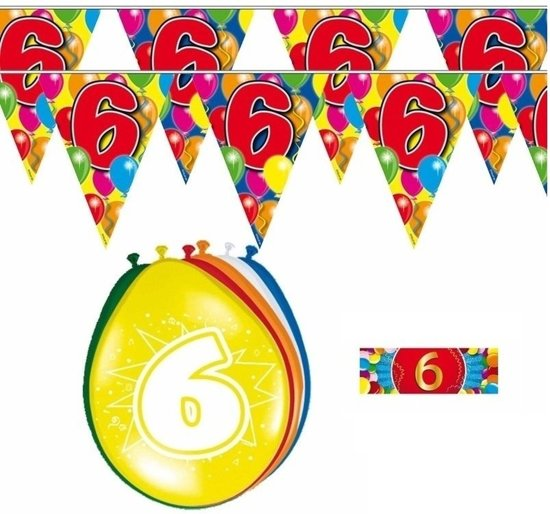 2x 6 jaar vlaggenlijn/slinger + ballonnen