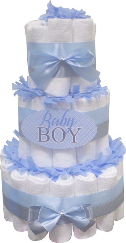 Pampertaart / luiertaart jongens baby boy 3-laags blauw maat 1 Kraamcadeau, Babyshower, Geboortecadeau