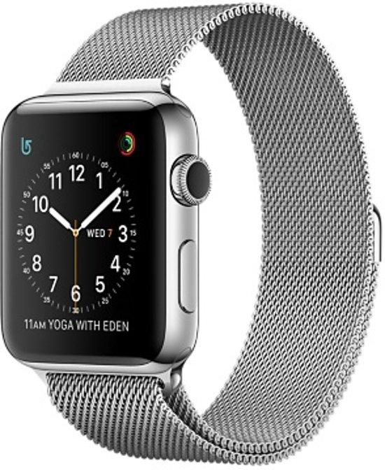 Milanese Loop Armband Voor Apple Watch Series 1/2/3 38 MM Iwatch Metalen Milanees Horloge Band - Zilver Kleurig