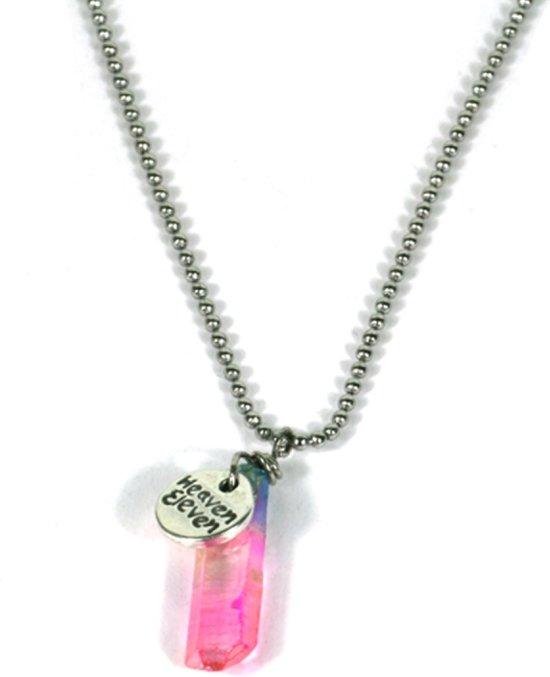 Heaven Eleven -  ballchain staal - aura quartz crystal - 40cm