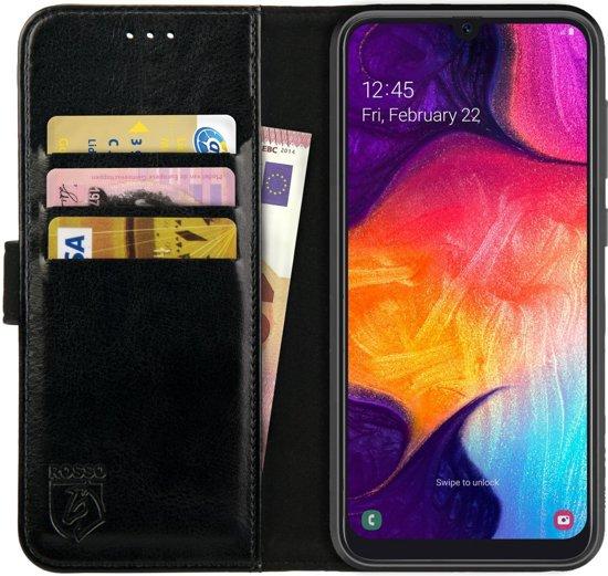 Rosso Element Samsung Galaxy A50 Hoesje Book Cover Zwart | Ruimte voor drie pasjes | Opbergvakje voor briefgeld | Handige stand functie | Magneetsluiting