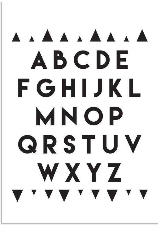 ... Babykamer - Decoratie - Zwart Wit poster - Alfabet ABC - A4 formaa