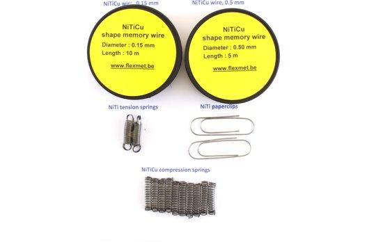 Nitinol geheugenmetaal 'XL' set : geheugenmetaal-draad, veertjes en  paperclips