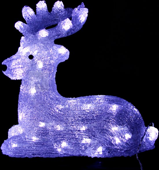verlicht kerstfiguur 50 lamps led acryl rendier 33x32cm voor binnen en buiten