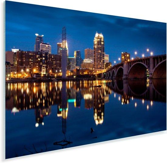 Het Noord-Amerikaanse Minneapolis verlicht in de nacht Plexiglas 90x60 cm - Foto print op Glas (Plexiglas wanddecoratie)