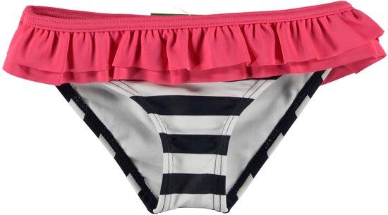 Losan Meisjes Zwembroek Blauw Wit gestreept met Roze roes - Maat 104