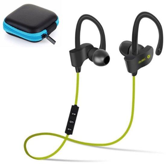 Bluetooth In-Ear Draadloze Koptelefoon Oortjes | Hardloop Sport Oordopjes met microfoon - Groen + Blauw en Zwart koptelefoonhoesje