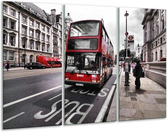 Canvas schilderij Engeland | Zwart, Rood, Wit | 120x80cm 3Luik