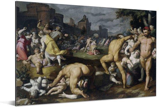 De kindermoord in Bethlehem - Schilderij van Cornelis Cornelisz van Haarlem Aluminium 60x40 cm - Foto print op Aluminium (metaal wanddecoratie)