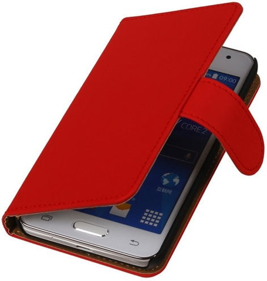 MP Case Bookstyle Rood Samsung Galaxy Core 4G Flip Cover Wallet Hoesje in Vieux-Genappe