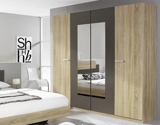 Bol.com borba kledingkast bruin 218 cm met spiegel