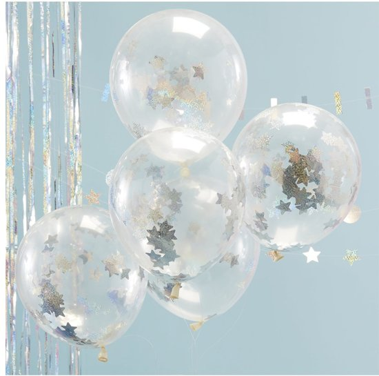 Ginger Ray Jolly Good Vibes - Ballon gevuld met holografische ster confetti Ø 28 cm - Set-5 Valentinaa