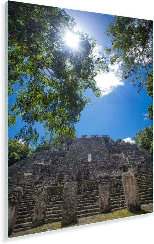 Prachtige lucht boven de ruïne in Calakmul Plexiglas 60x90 cm - Foto print op Glas (Plexiglas wanddecoratie)
