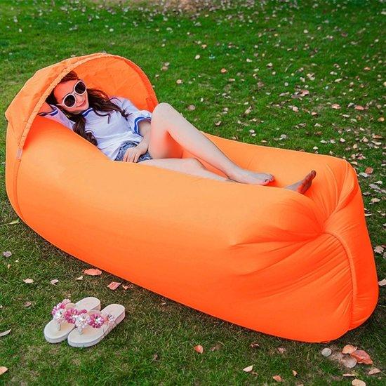 Opblaasbaar ligbed 210D stof compressie airbag Sofa met strand parasol voor strand / reizen / Hospitality / Hengelsport  maat: 240 x 70 cm x 50cm(Orange)