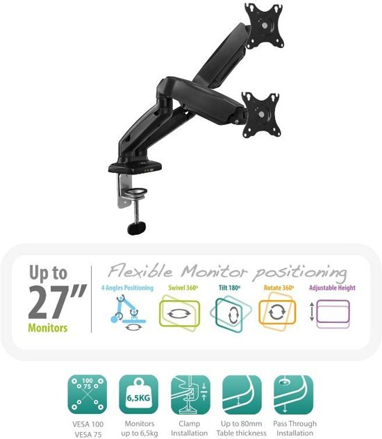 Ewent EW1516 Monitor Arm voor 2 Monitoren