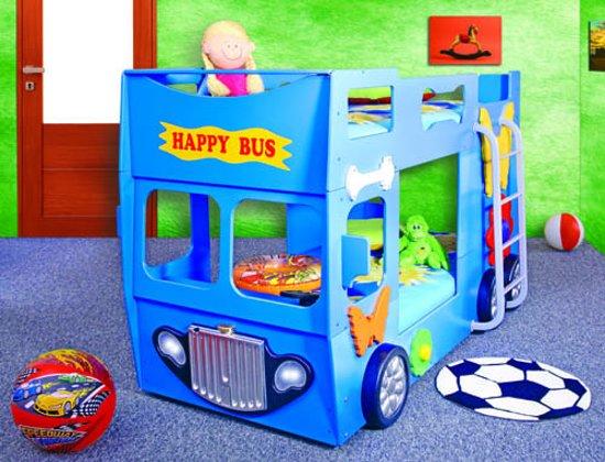 Brandweer Auto Stapelbed.Stapelbed Happy Bus Kinder Auto Bed Incl Matras