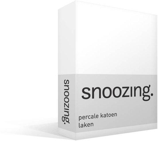Snoozing - Laken - Lits-jumeaux - Percale katoen - 280x300 cm - Wit