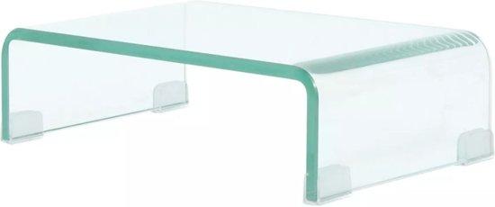 Tv-meubel/monitorverhoger transparant 40x25x11 cm glas