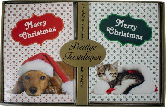 Bol Com Kerstkaarten Met Nieuwjaars Wens Hond Kat 5x10 50 Kaarten