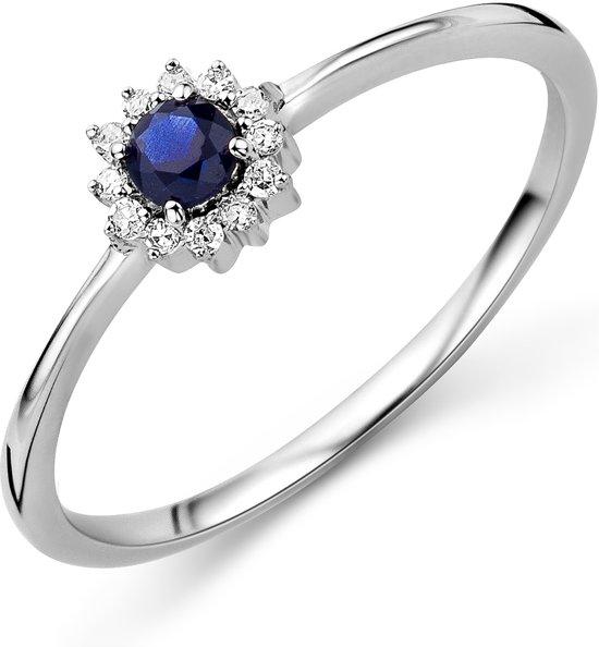 Majestine 9 Karaat Ring Witgoud (375) met Diamant 0.05ct en Gecreëerde Saffier 0.11ct maat 58
