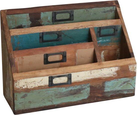 One world interiors scrapwood brievenhouder multicolor gerecycled hout - Kantoor houten school ...