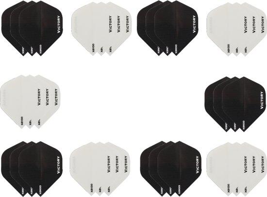Dragon darts - 10 sets (30 stuks) - XS100 Poly flights - duo kleur pakket - Zwart en Wit  – dart flights - darts flights