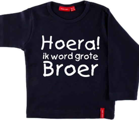 Iets Nieuws bol.com | T-shirt lange mouw | Hoera! ik word grote broer| navy #ZT59