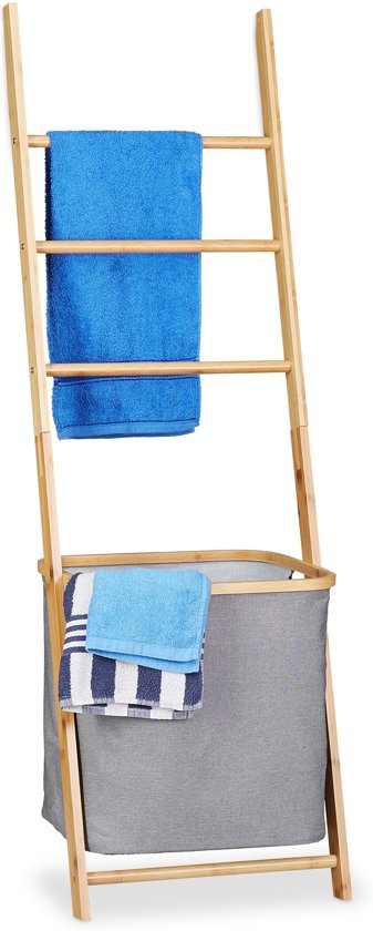 Bamboe Handdoek Ladder.Relaxdays Handdoekhouder Bamboe Handdoekladder Wasmand Handdoekenrek Hout Waszak
