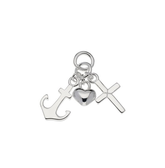 Classics&More hanger - geloof, hoop en liefde - zilver - 15 x 8 mm - kruisje anker hart