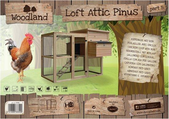 Woodland kippenhok loft attic pinus 172x146x125,5cm