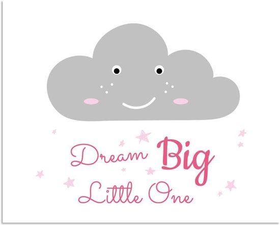 Kinderkamer poster Dream Big Little One DesignClaud - Wolk - Roze - A3 + Fotolijst wit