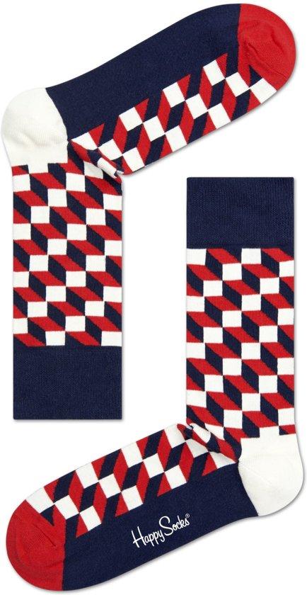 43b3012360a Happy Socks Filled Optic Sokken - Blauw/Rood - Maat 36-40