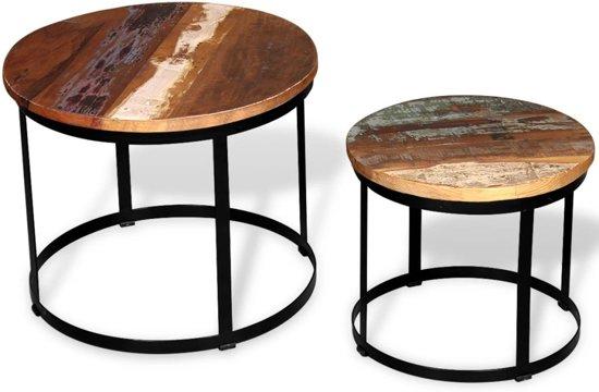 Bol.com vidaxl salontafel set 40 50 cm gerecycled hout rond 2 delig