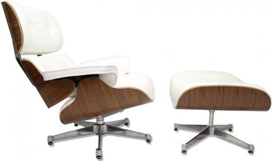 Lounge Stoel Met Voetenbank.Bol Com Luxe Lounge Chair Met Voetenbank Wit Leer