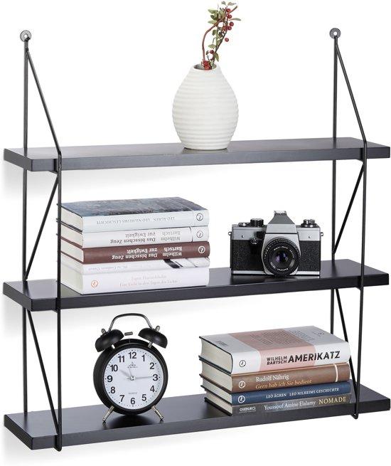 Wandplank Zwart Metaal Hout.Relaxdays Wandrek 3 Etages Mdf Hout Met Metalen Frame Wandplank Open Fotoplank Zwart