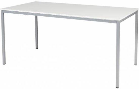 BEUK Bureautafel 160x80 - Licht Grijs Hout - Alu Frame