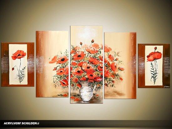 bol.com | Acryl Schilderij Woonkamer | Rood, Bruin, Crème | 150x70cm ...