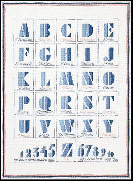 Thea Gouverneur Borduurpakket 1089 ABC Daire Alphabet - Linnen stof