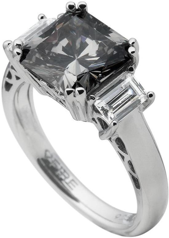Diamonfire - Zilveren ring met steen Maat 16.5 - Grijze Steen - Vierkant
