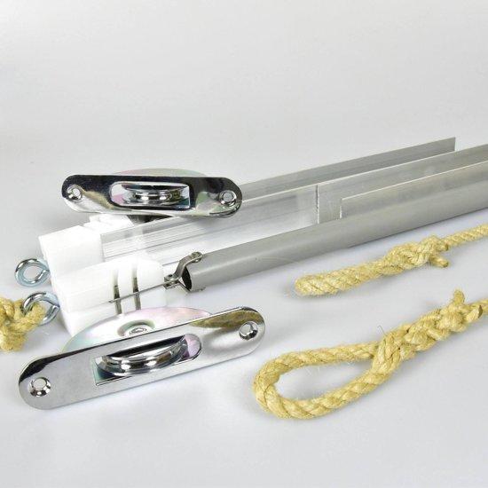 Schuifraamveren 48-50kg 600mm chroom rond (houtje touwtje)