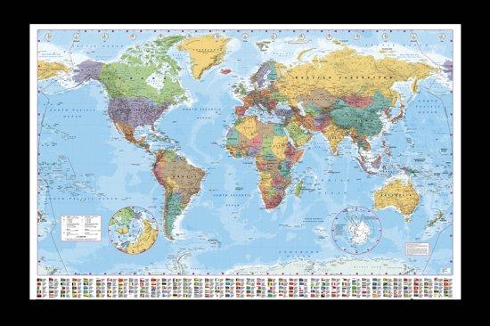 Poster-wereldkaart-aanbieding-ingelijst-mooie houten lijst (65x96cm)