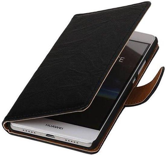 Mobieletelefoonhoesje.nl - Huawei Ascend G700 Hoesje Washed Leer Bookstyle Zwart in Chanly